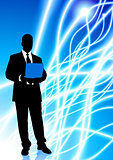 Businessman on Light Line Background