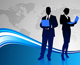 Business Couple on Abstract World Map Background