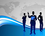 Business Team on Abstract World Map Background