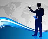 Businessman on Abstract World Map Background