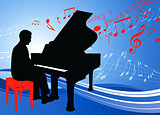 Piano Musician on Musical Note Background