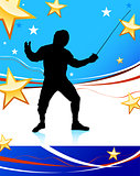 Fencing Sport on American Patriotic Background