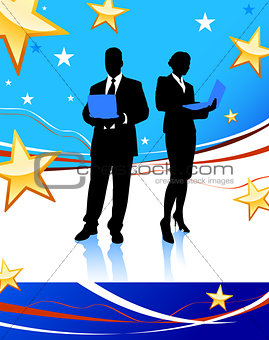 Business Couple on Abstract United States Background