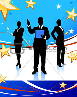 Business Team on Abstract United States Background