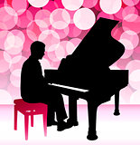 Piano Musician on Pink Lens Flare Background