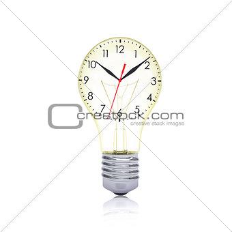Clock face inside the bulb