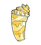 Cartoon shiny banana vanilla milkshake with syrup and cream