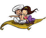 Aladdin on a flying carpet