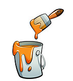 Cartoon orange color paint in a paint bucket painting with paint