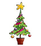 Christmas colorful pine tree decorated with ornaments and a big