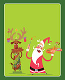 Christmas concept greeting card with Santa Claus and reindeer ch