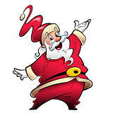 Happy smiling Santa Claus cartoon character presenting and wishi