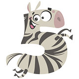 Number 5 excited cartoon zebra gallop