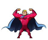 Super strong hero in red suit and a power gesture