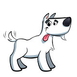 White cartoon terrier russell dog drooling