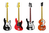 Set of isolated vintage guitars
