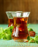 traditional Arabic Turkish tea served with fresh mint