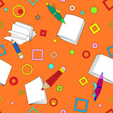 School notes seamless pattern on orange background
