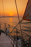 sailing yacht during sunset