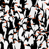Seamless penguins pattern