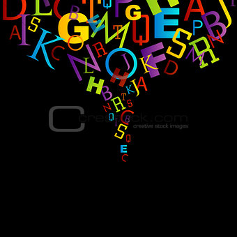 background with colorful alphabets