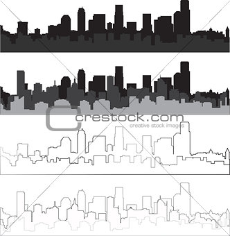 city silhouette in black, gray and with interpretation 7