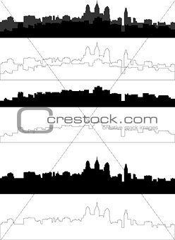 city silhouette in black, gray and with interpretation 6