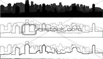 city silhouette in black, gray and with interpretation 4