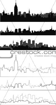 city silhouette in black, gray and with interpretation 3
