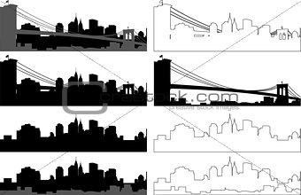 city silhouette in black, gray and with interpretation 2