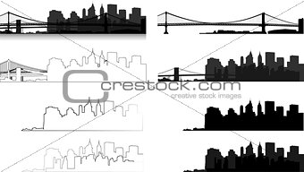 city silhouette in black, gray and with interpretation 1