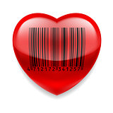 Red heart with barcode