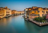 View on Grand Canal from Accademia Bridge at Sunrise, Venice, It