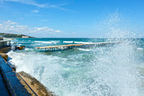 Sea coast and splashes of surf (Bulgaria).