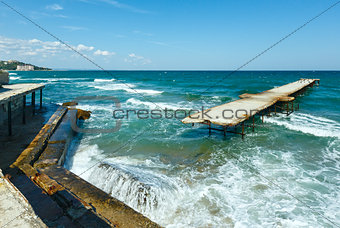 Sea storm and ruined pier (Bulgaria).
