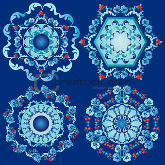 blue oriental border and ornament eight