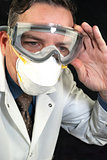 Doctor Wearing Goggles and Mask