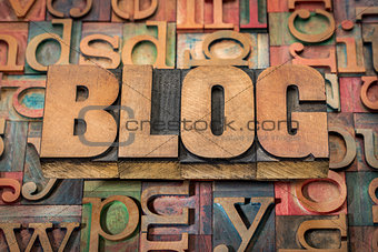 blog word in wood type