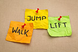 walk, jump, lift - fitness concept