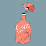 bottle with a flower