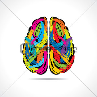 Brain forming of colorful paint strokes