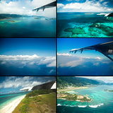 Collage of views with the aircraft. Seychelles.