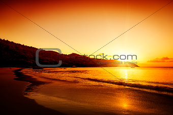 Gold sunset on the sand beach