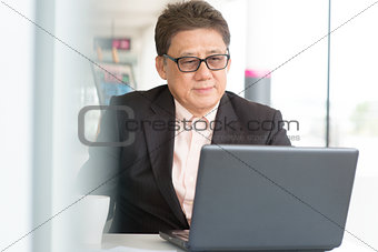 CEO boss using internet with laptop