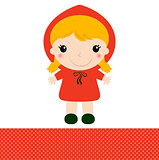 Cute Red riding hood isolated on white
