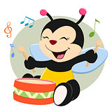 Baby Bee Playing Drum