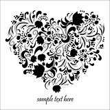 Floral black heart art vector illustration cute