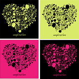 Greeting cards with heart shape art illustration cute