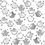 seamless graphic pattern with fish art cute