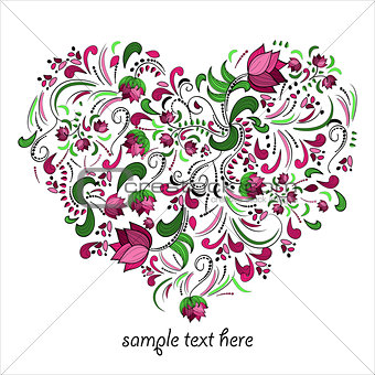 Bright heart made of flowers in vector. Romantic cartoon invitation card. Stylish design element in bright colors